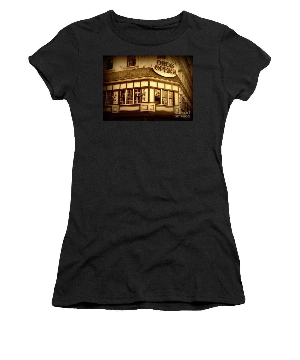 Drug Opera Women's T-Shirt (Athletic Fit) featuring the photograph Restaurant Sign In Brussels by Carol Groenen