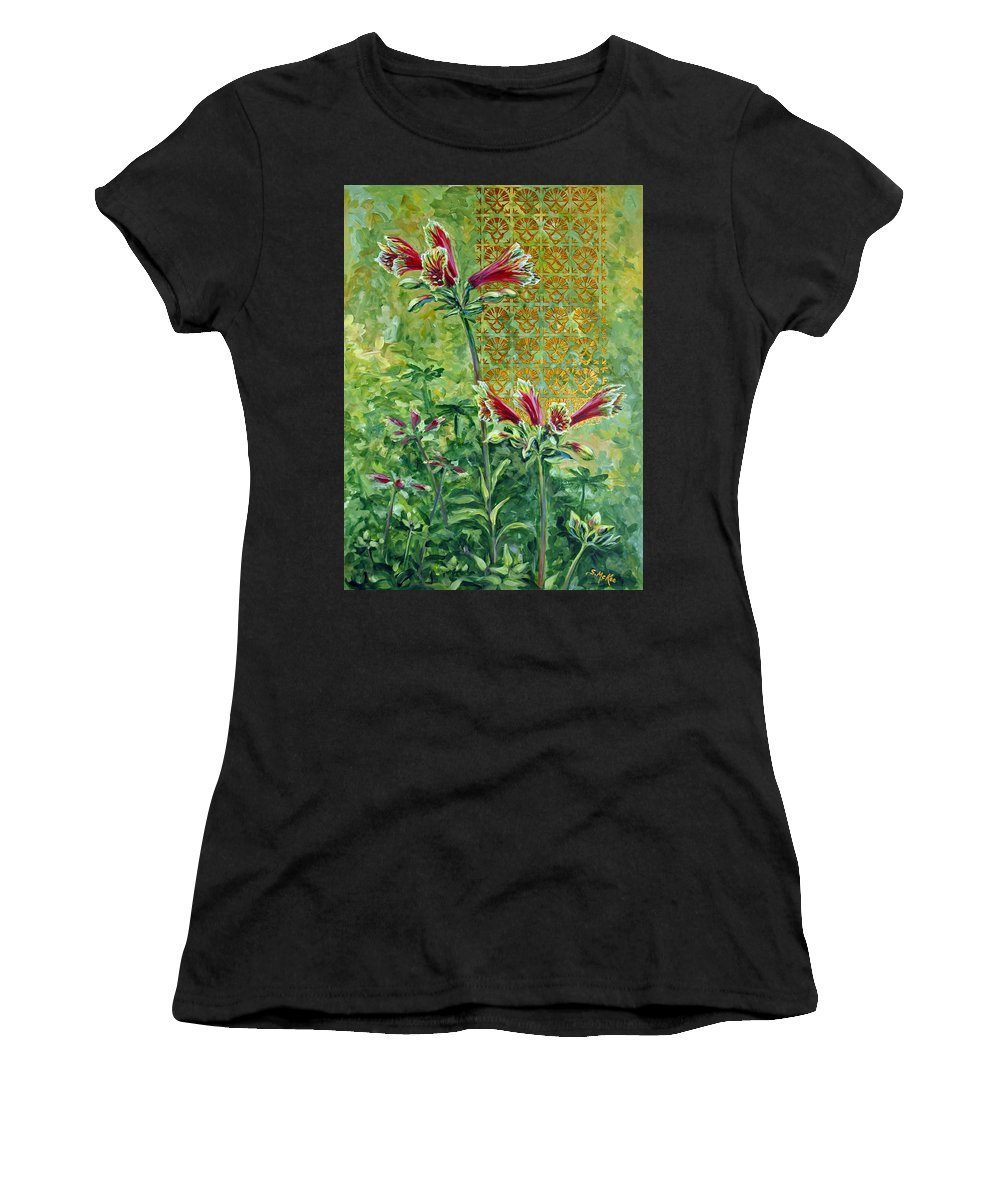 Acrylic Women's T-Shirt (Athletic Fit) featuring the painting Roadside Discovery by Suzanne McKee