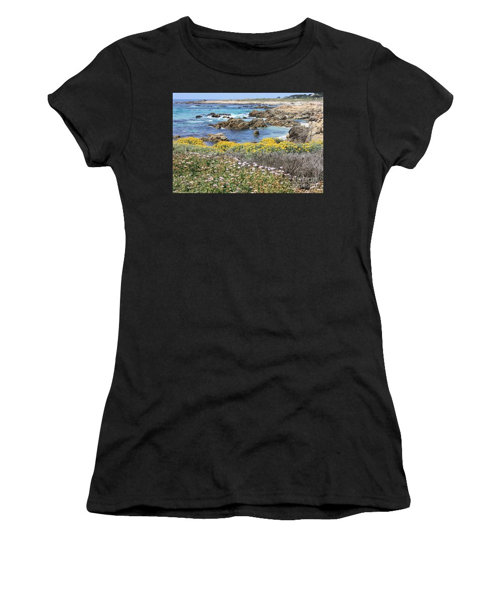 California Women's T-Shirt (Athletic Fit) featuring the photograph Rocky Surf With Wildflowers by Carol Groenen