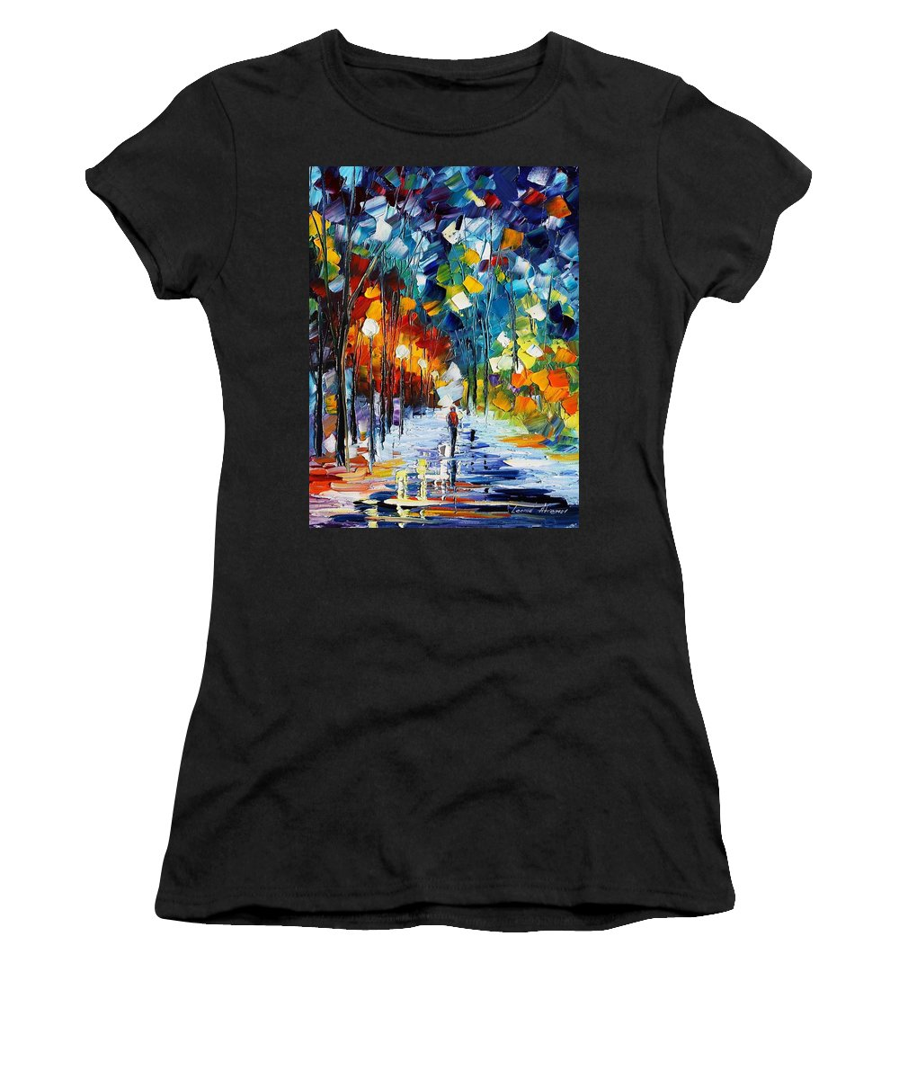 Afremov Women's T-Shirt (Athletic Fit) featuring the painting Romantic Winter by Leonid Afremov