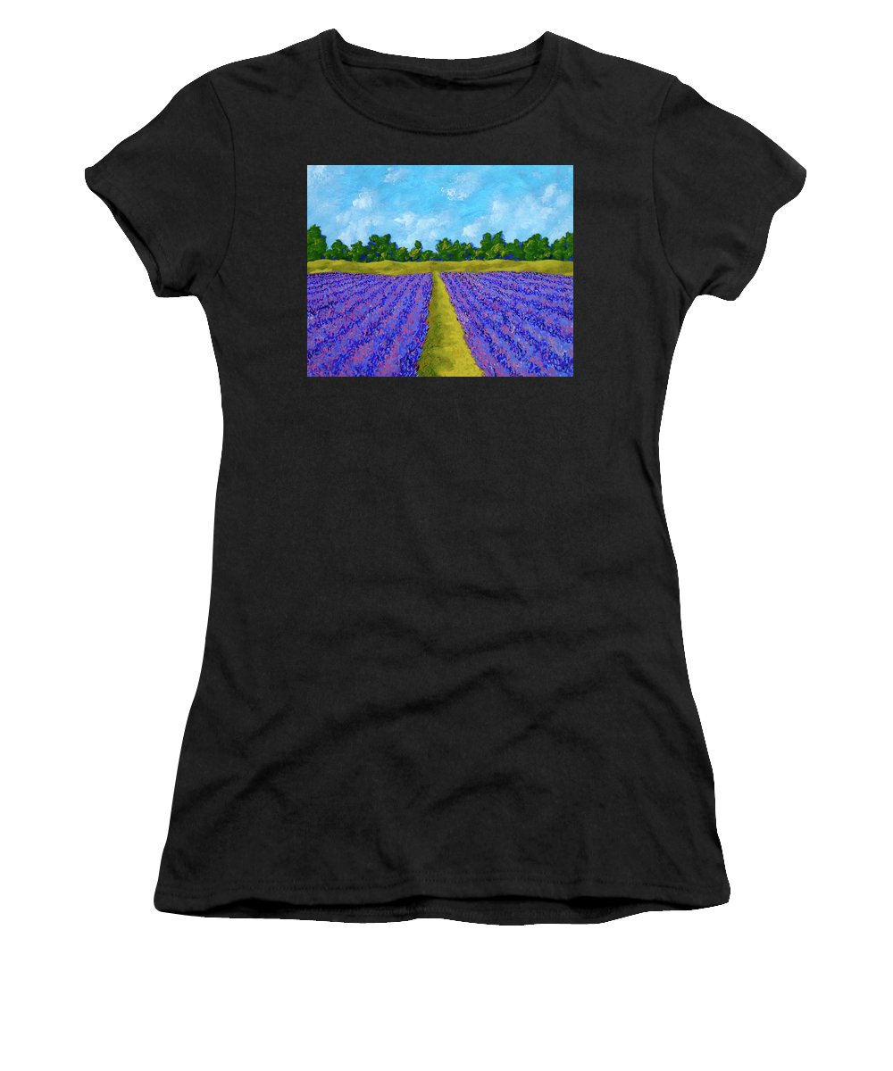 Acrylic Women's T-Shirt (Athletic Fit) featuring the painting Rows Of Lavender In Provence by Mike Kraus