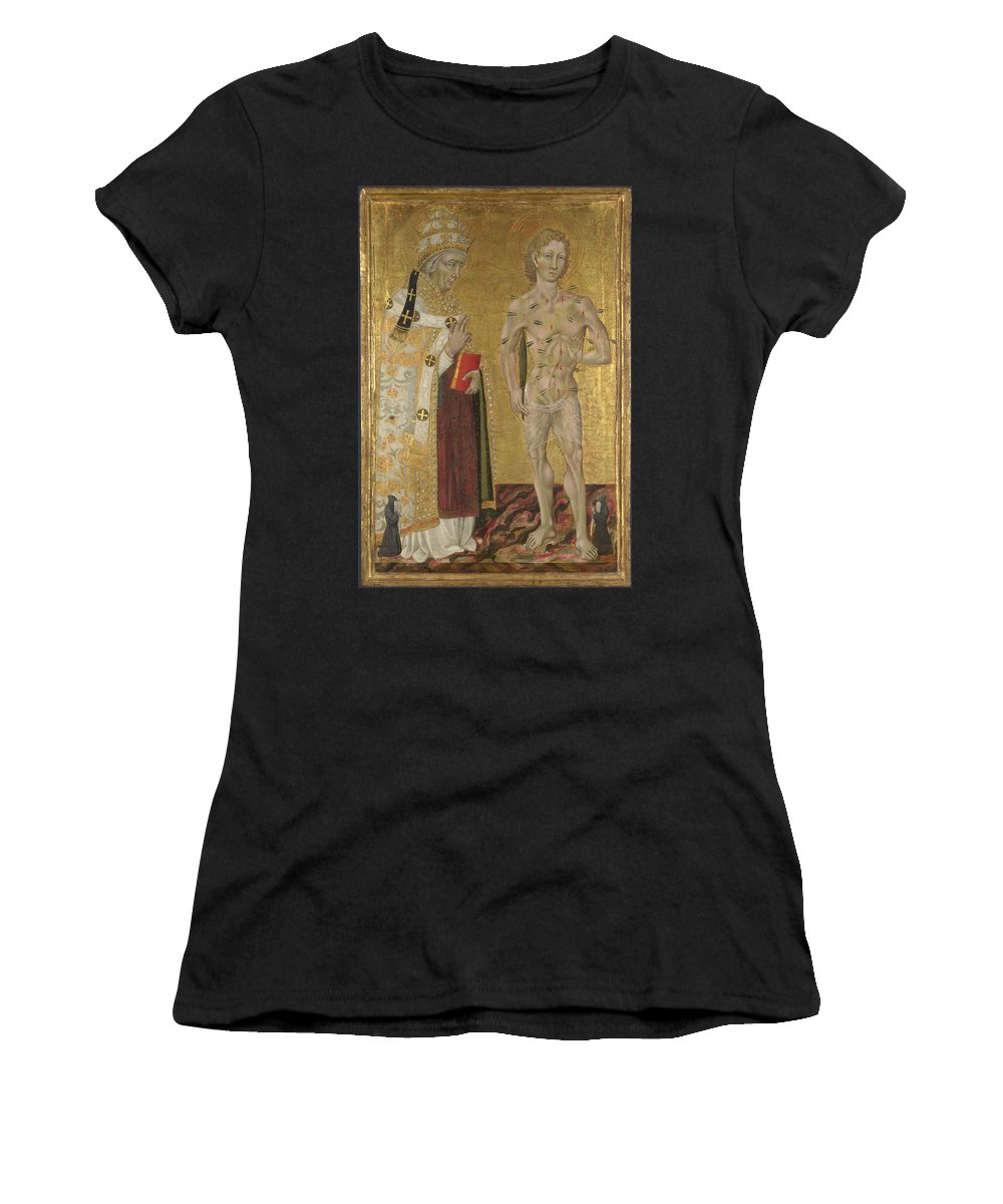 Giovanni Women's T-Shirt (Athletic Fit) featuring the digital art Saints Fabian And Sebastian by PixBreak Art