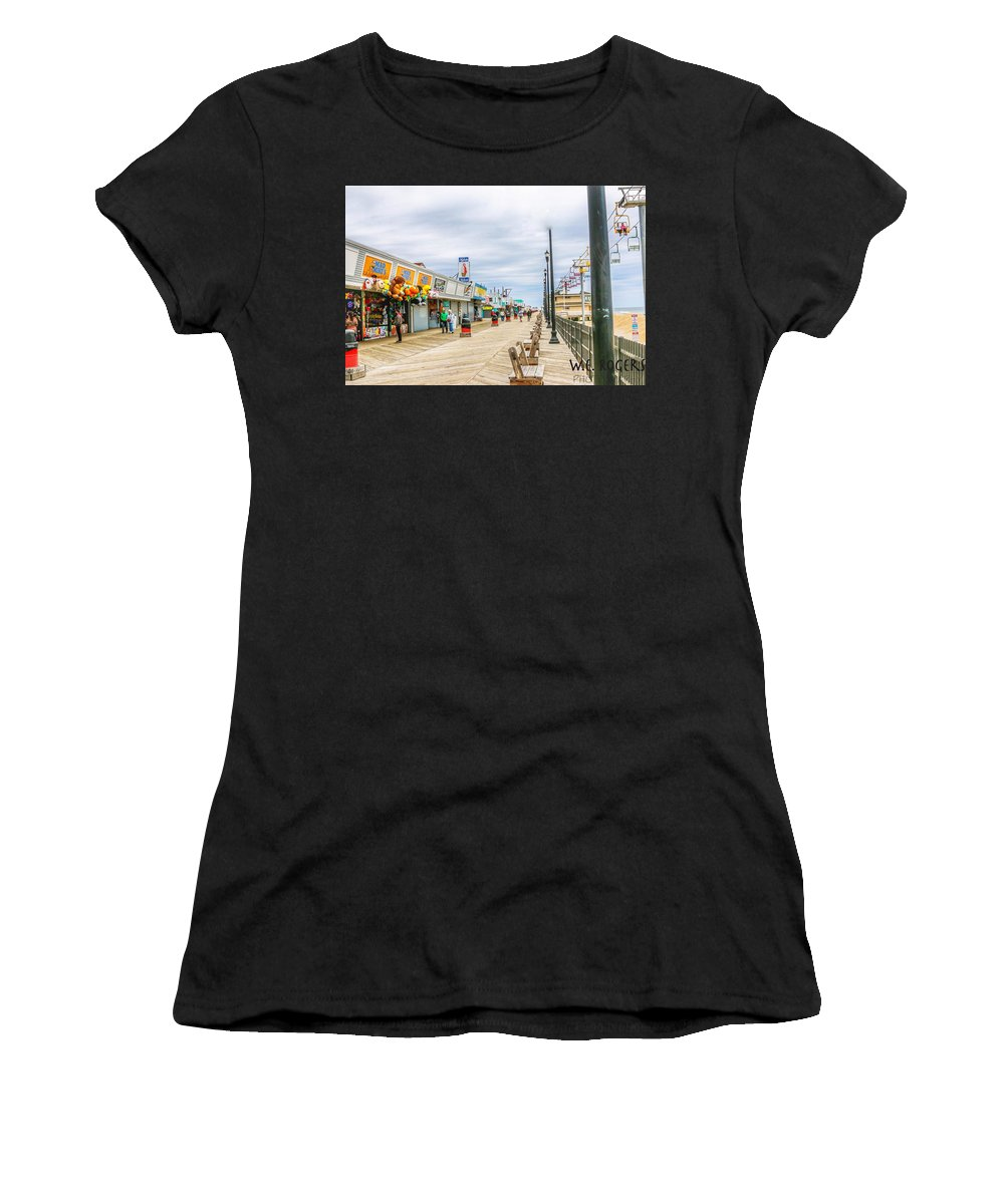 This Is A Photo Of The Seaside Boardwalk Taken April 15th 2017 Women's T-Shirt featuring the photograph Seaside Boardwalk by William Rogers