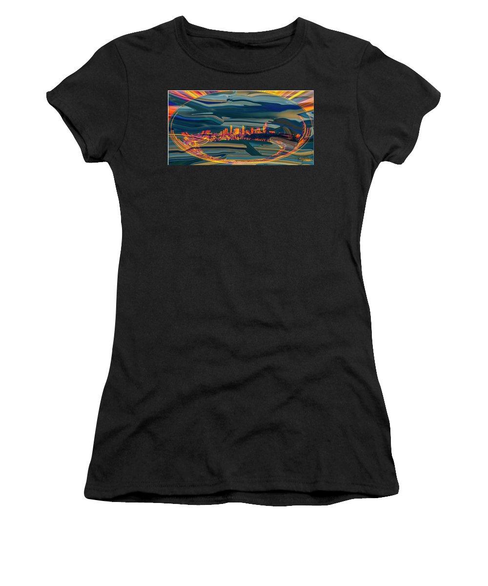 Seattle Women's T-Shirt featuring the digital art Seattle Swirl by Dale Stillman