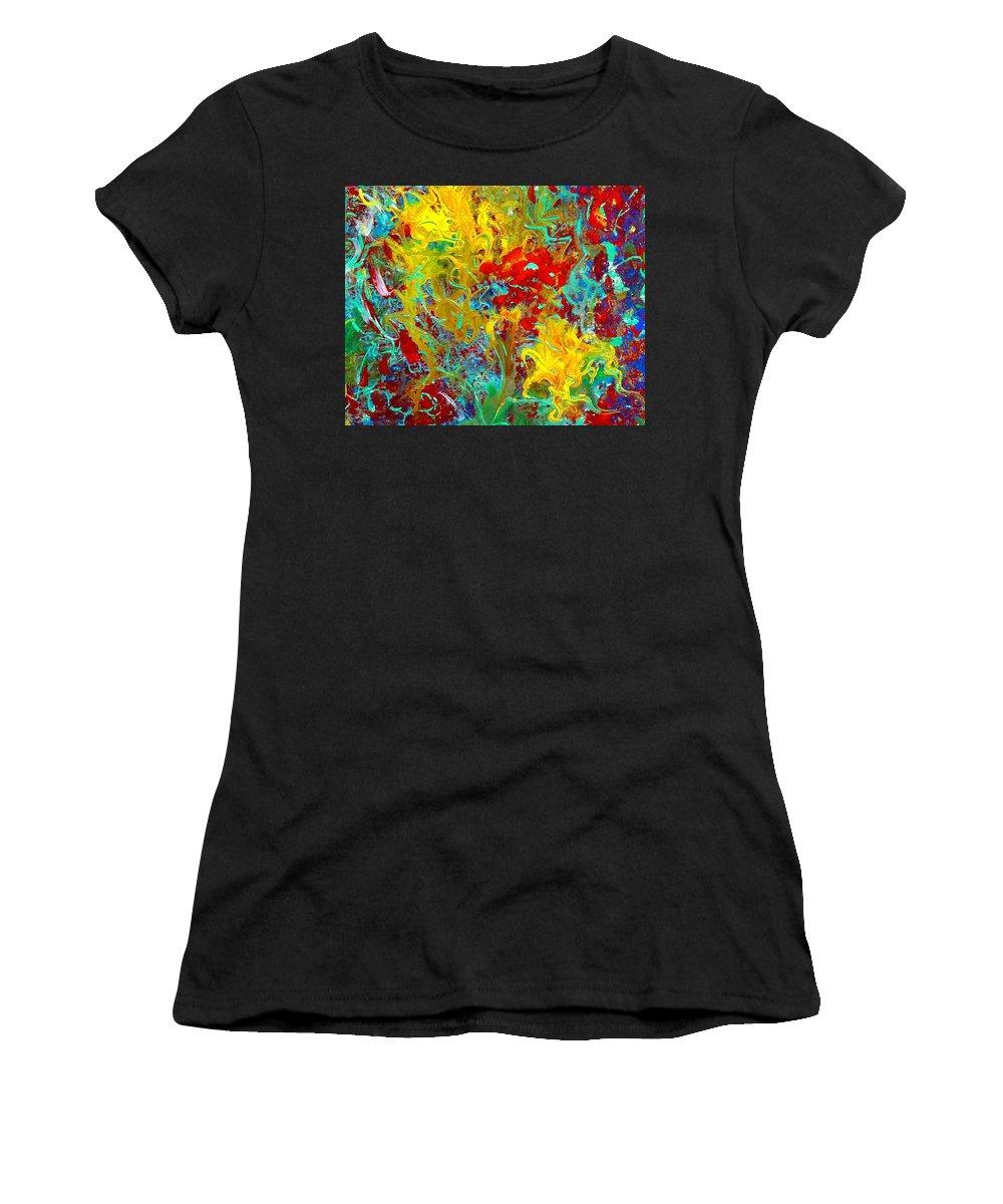 Secret Garden Women's T-Shirt (Athletic Fit) featuring the painting Secret Garden by Natalie Holland