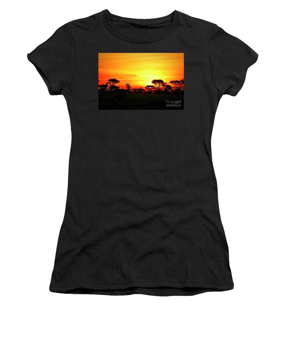 Serengeti Women's T-Shirt featuring the photograph Serengeti Sunset by Bruce Block