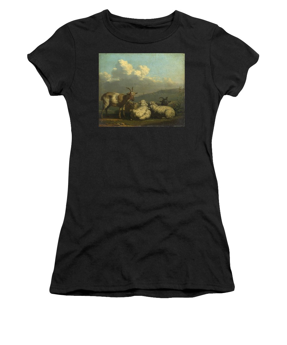 Karel Women's T-Shirt (Athletic Fit) featuring the digital art Sheep And Goats by PixBreak Art