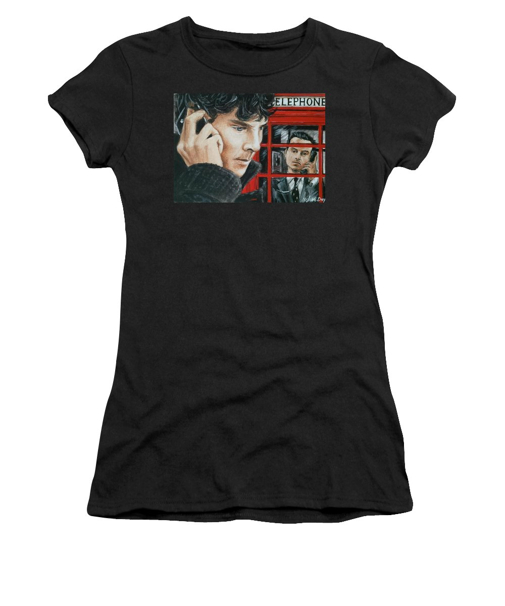 Sherlock Women's T-Shirt (Athletic Fit) featuring the painting Sherlock by YeLena Day
