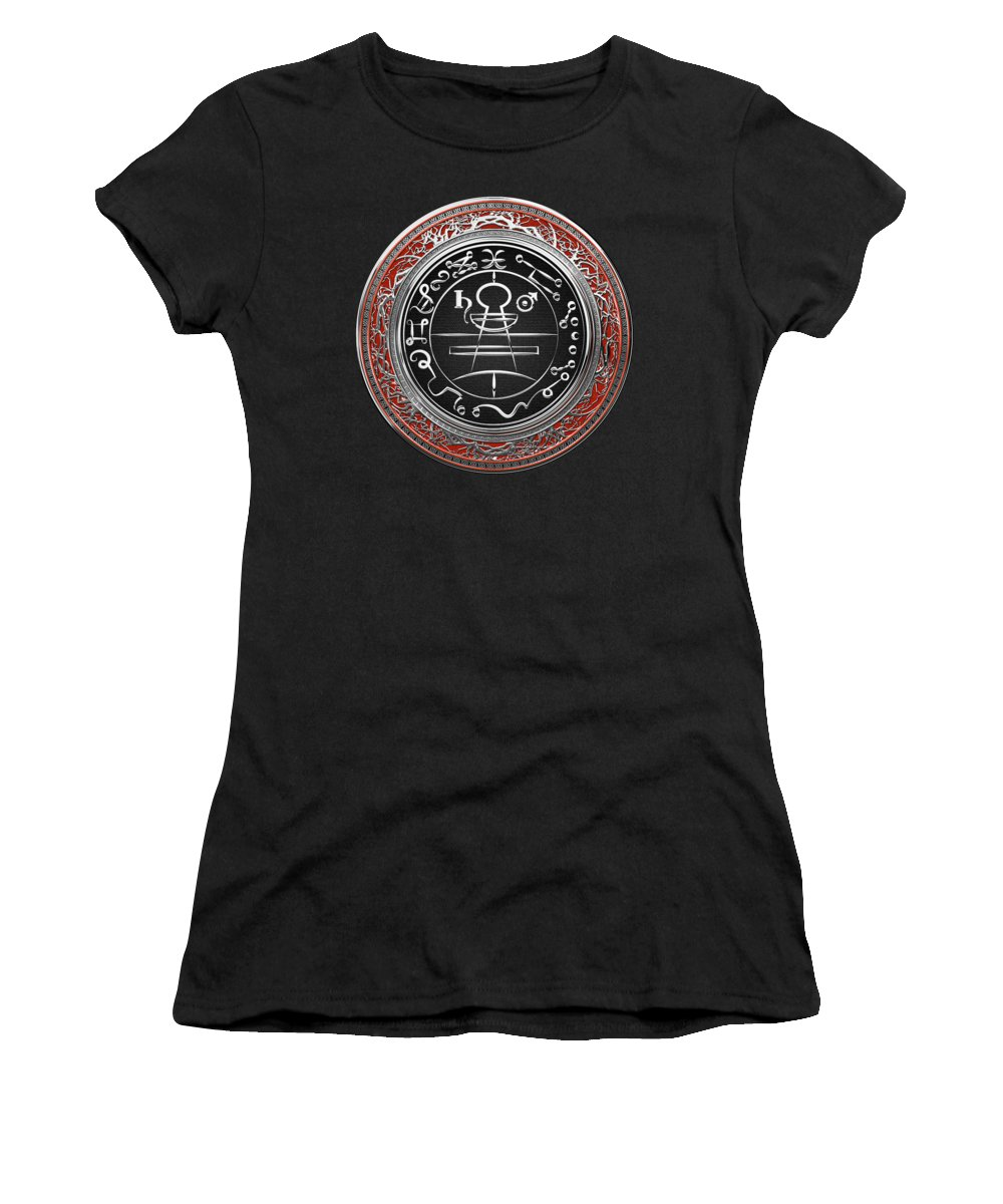 'sacred Symbols' Collection By Serge Averbukh Women's T-Shirt featuring the photograph Silver Seal Of Solomon - Lesser Key Of Solomon On Red Velvet by Serge Averbukh