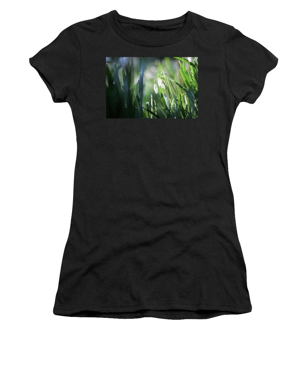 Bokeh Women's T-Shirt (Athletic Fit) featuring the photograph Snowdrops by Alex Simon