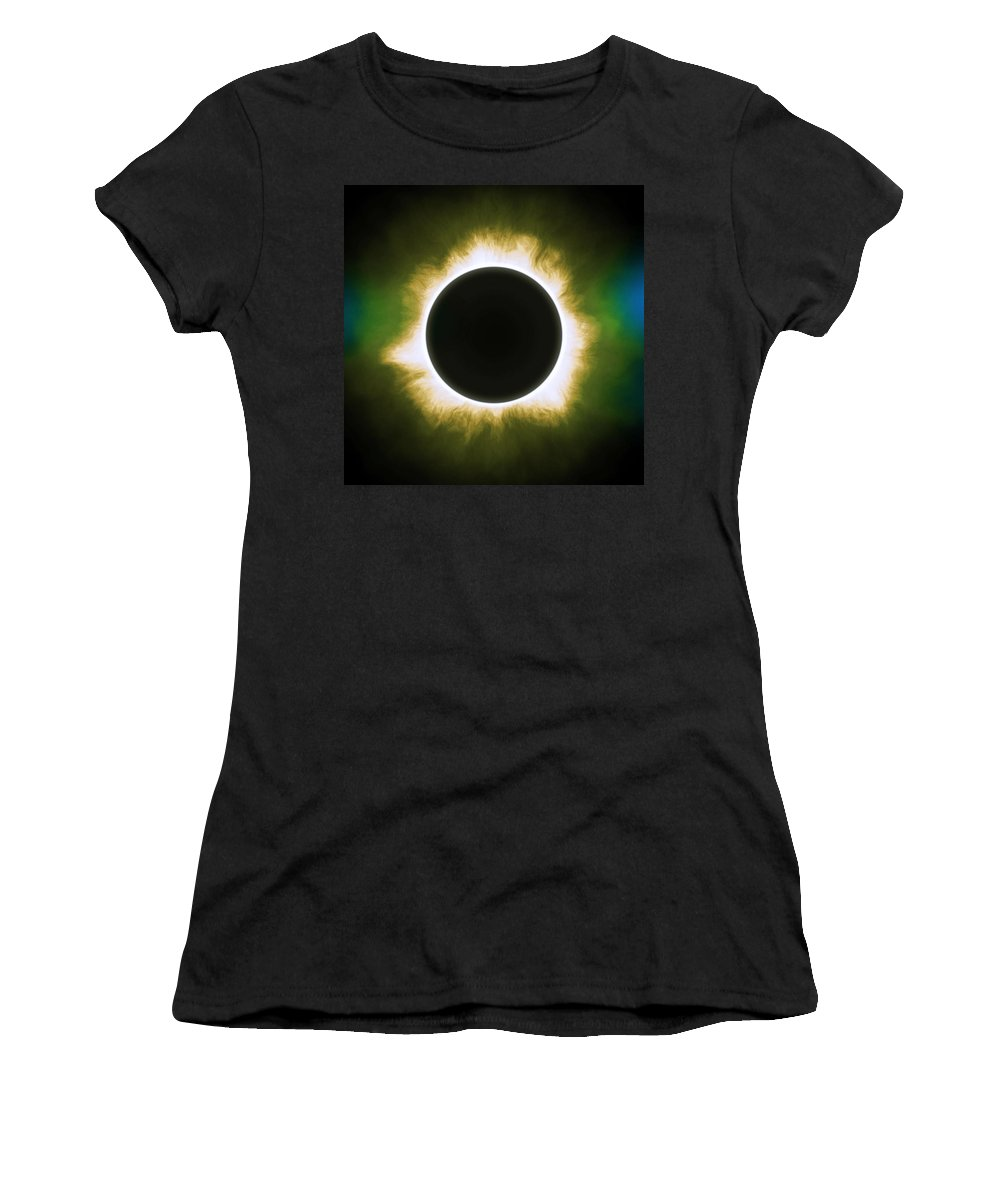 Sun Women's T-Shirt (Athletic Fit) featuring the painting Solar Eclipse In Infrared by Celestial Images