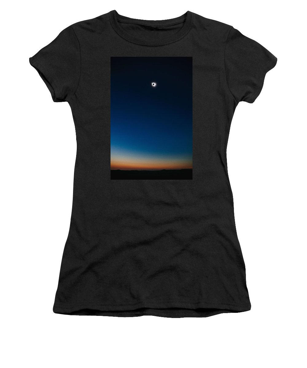Sun Women's T-Shirt (Athletic Fit) featuring the painting Solar Eclipse, Syzygy, The Sun, The Moon And Earth by Celestial Images