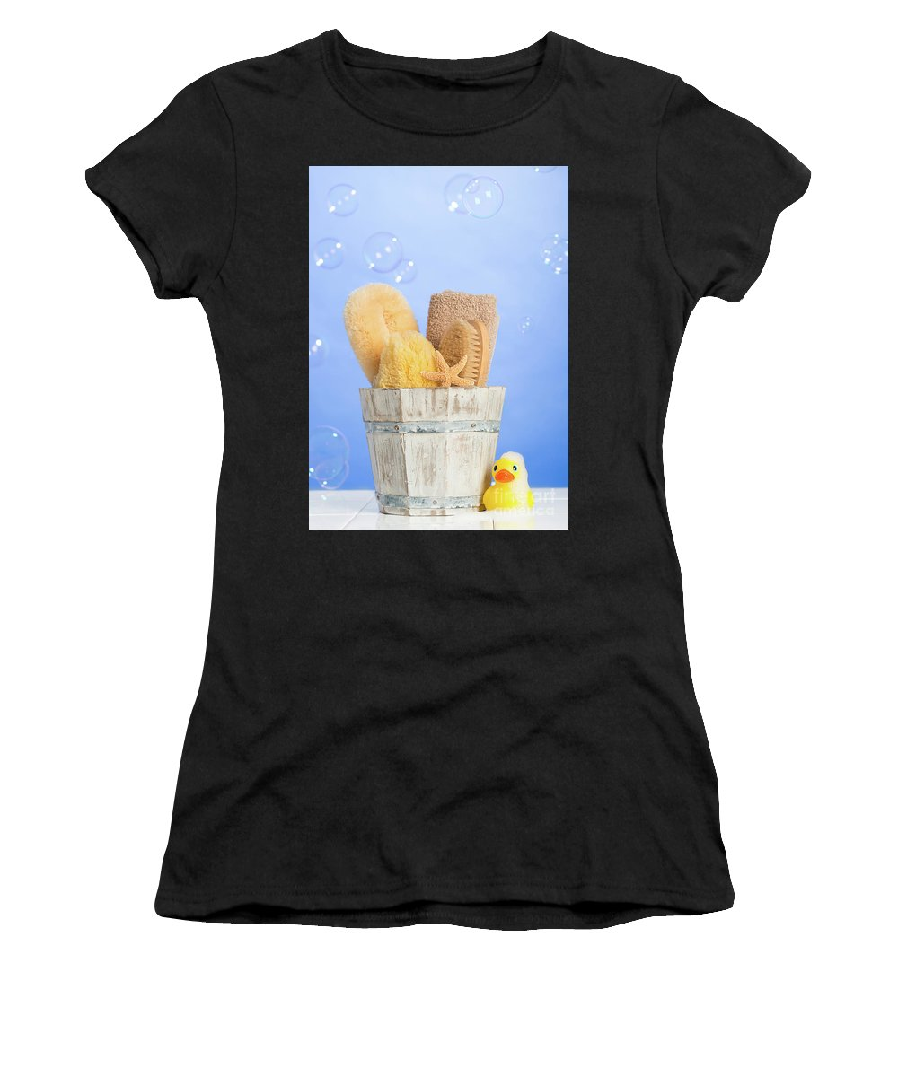 Bucket Women's T-Shirt featuring the photograph Spa Items by Amanda Elwell