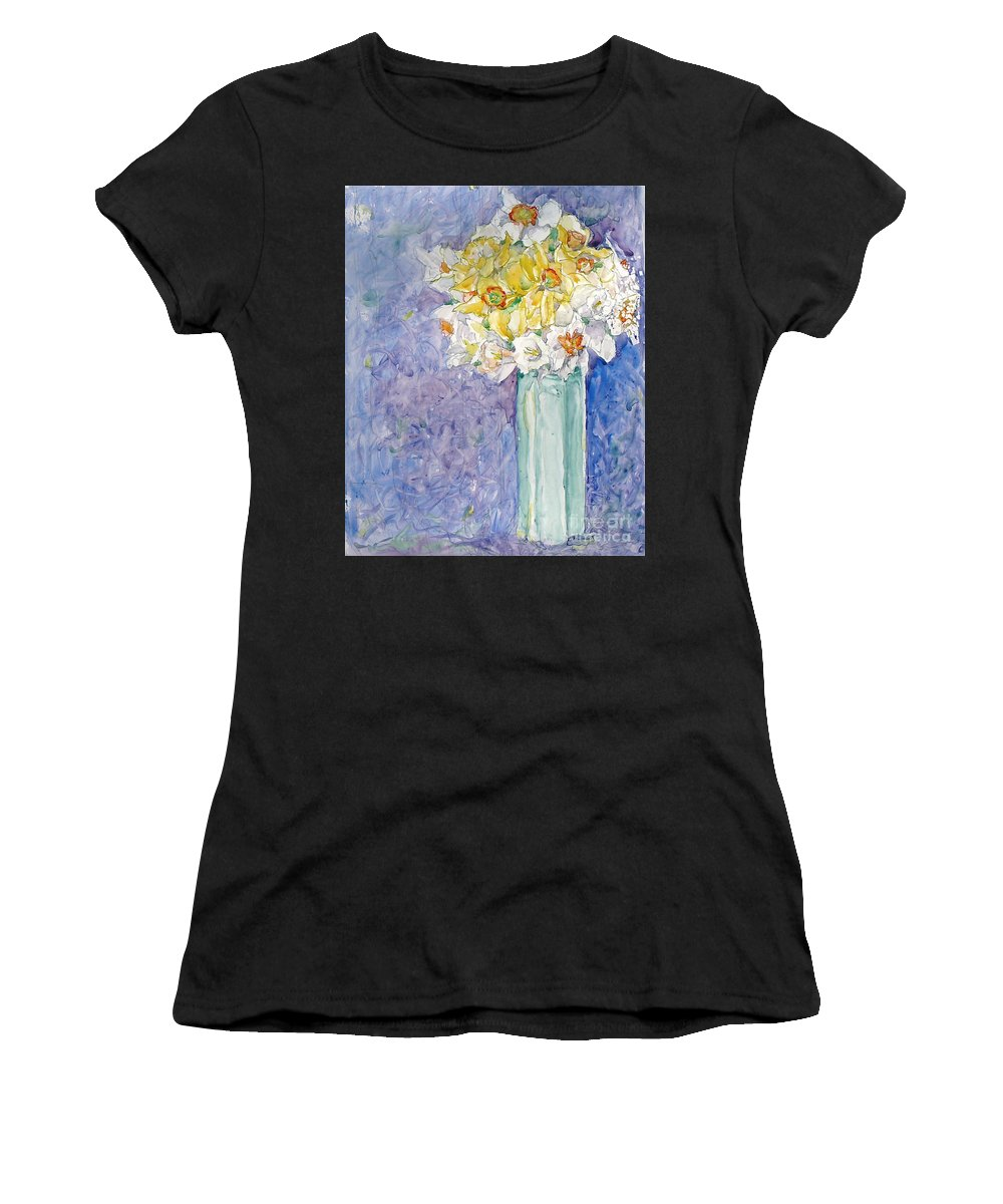 Watercolor Women's T-Shirt (Athletic Fit) featuring the painting Spring Blossoms by Jan Bennicoff