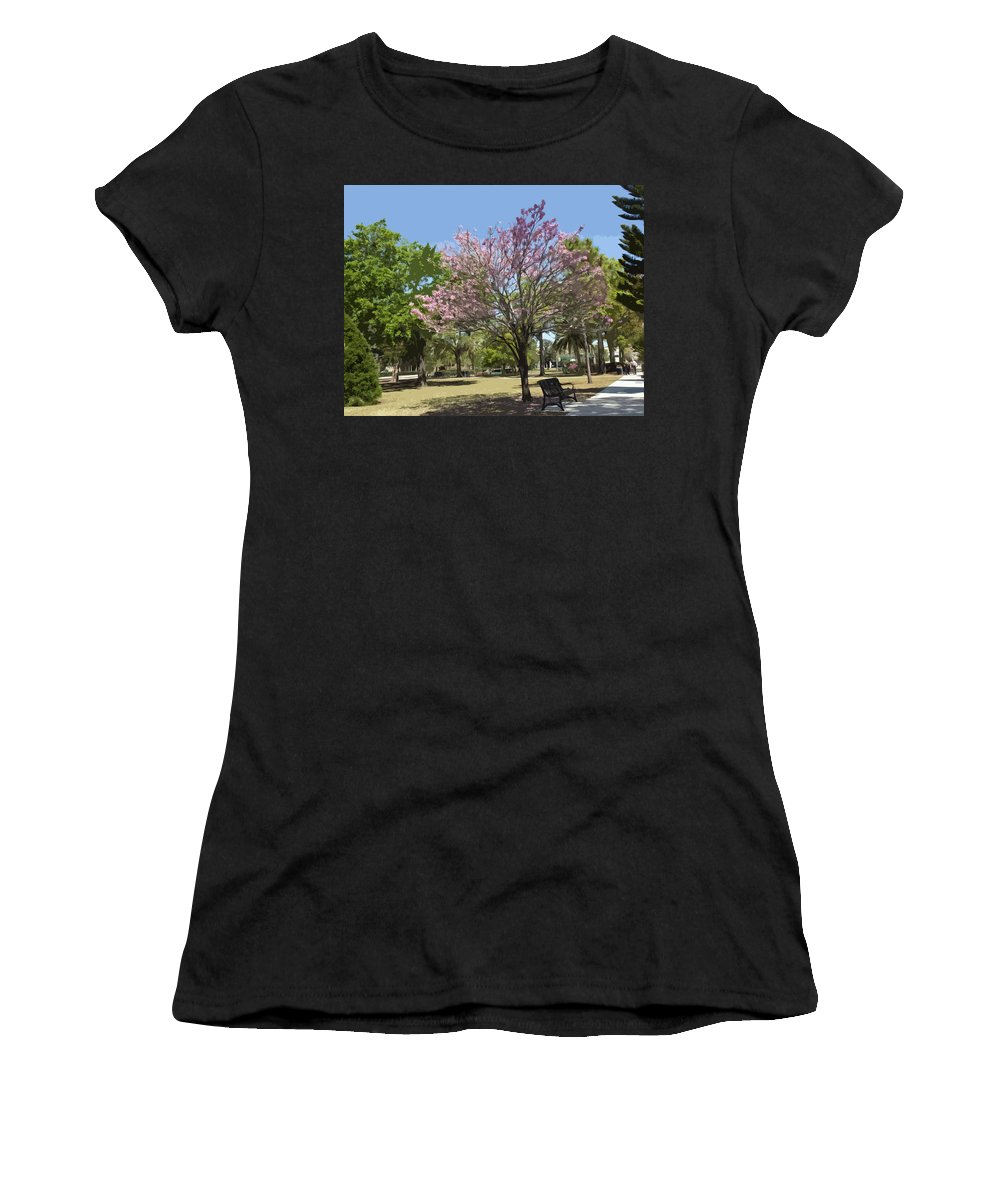 Tree Women's T-Shirt (Athletic Fit) featuring the painting Spring In Winter Park by Allan Hughes