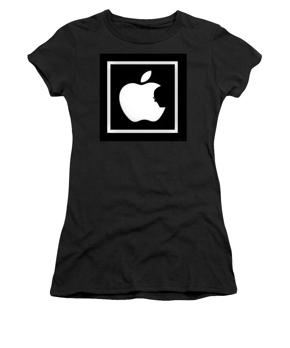 Black And White Women's T-Shirt featuring the photograph Steve Jobs Apple by Rob Hans