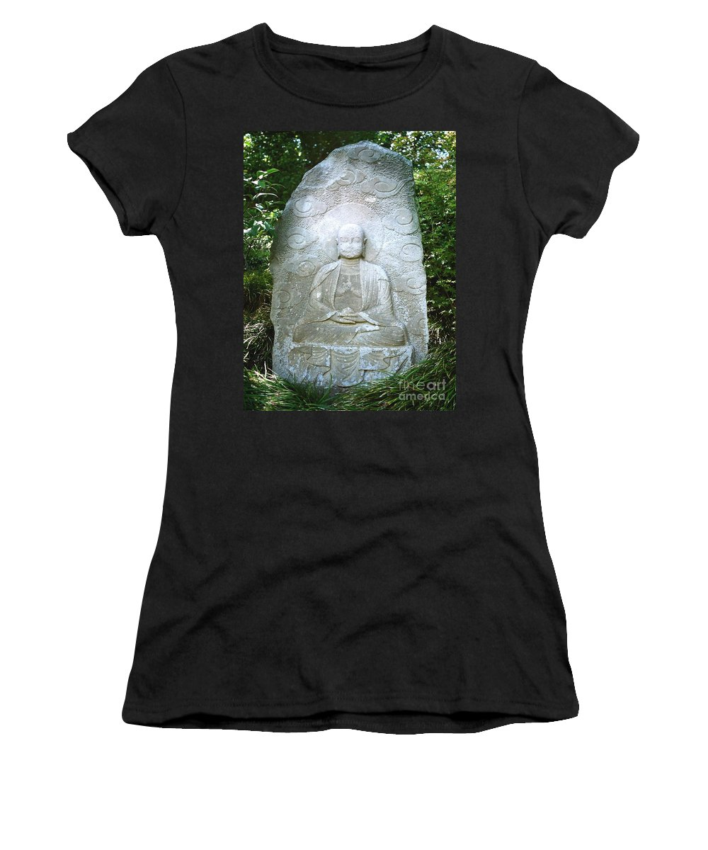 Stone Women's T-Shirt (Athletic Fit) featuring the photograph Stone Buddha by Dean Triolo