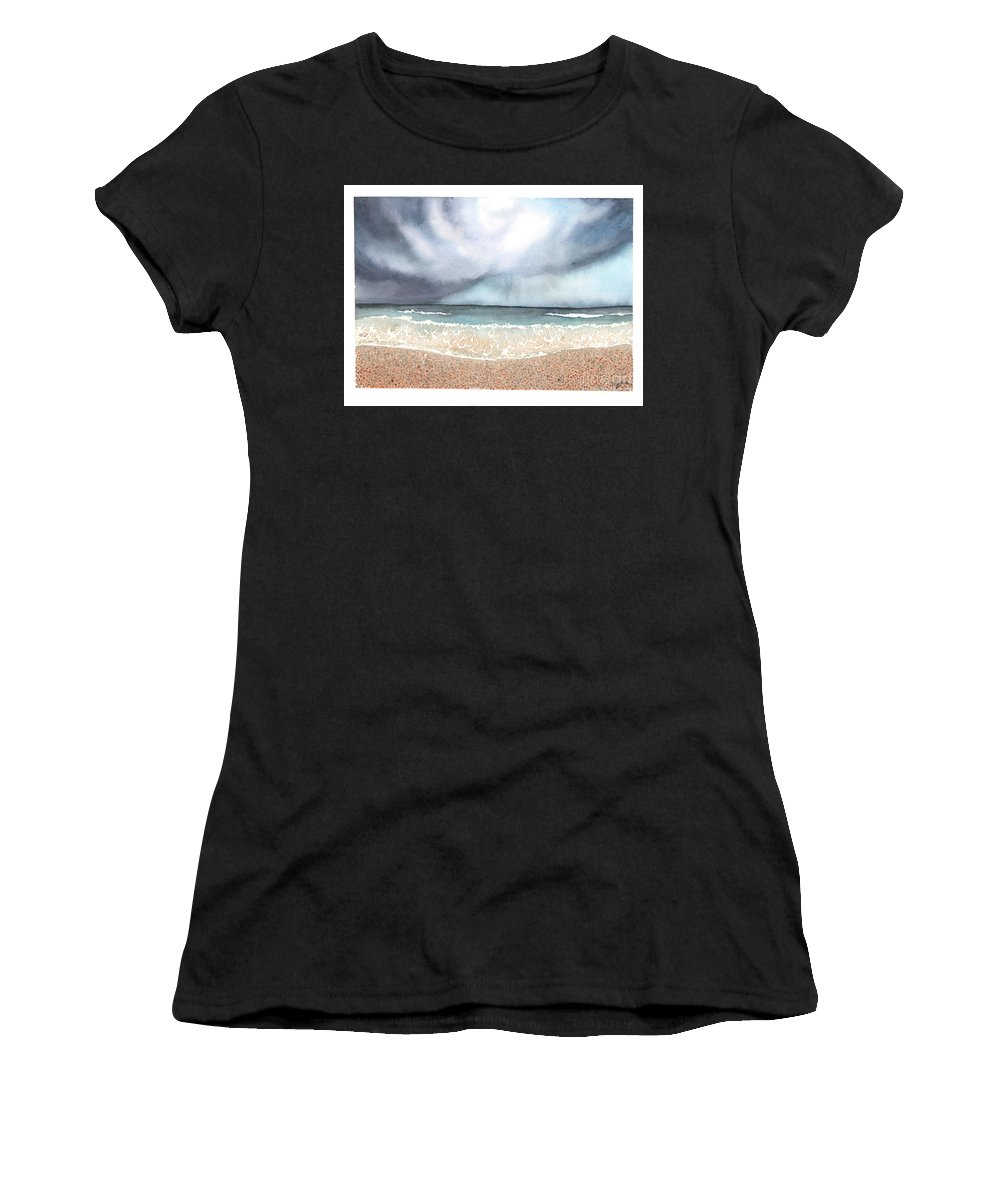 Storm Women's T-Shirt (Athletic Fit) featuring the painting Stormy Day by Hilda Wagner