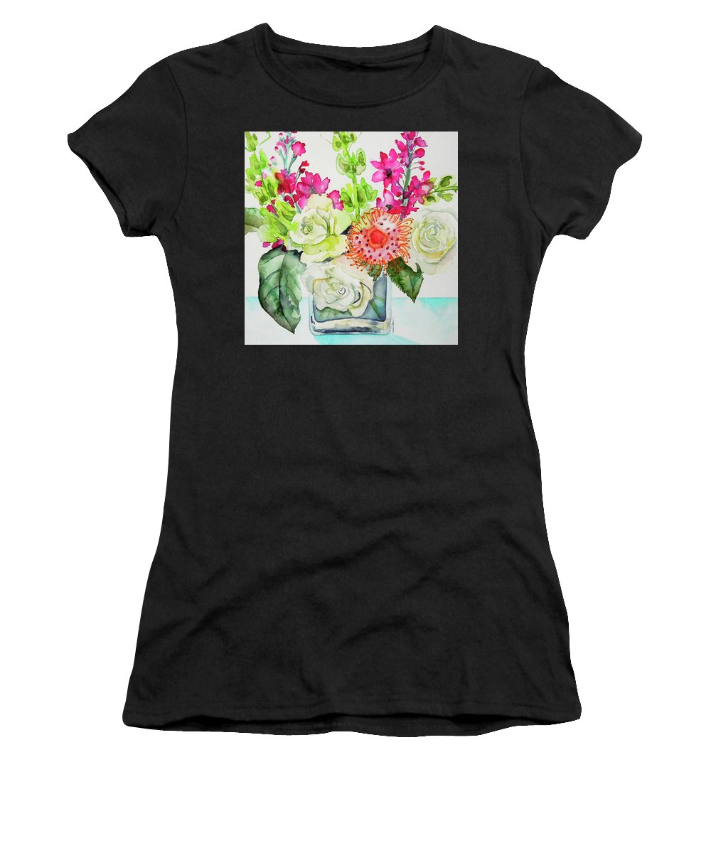 Floral Painting Women's T-Shirt (Athletic Fit) featuring the painting Studio Flowers by Roleen Senic
