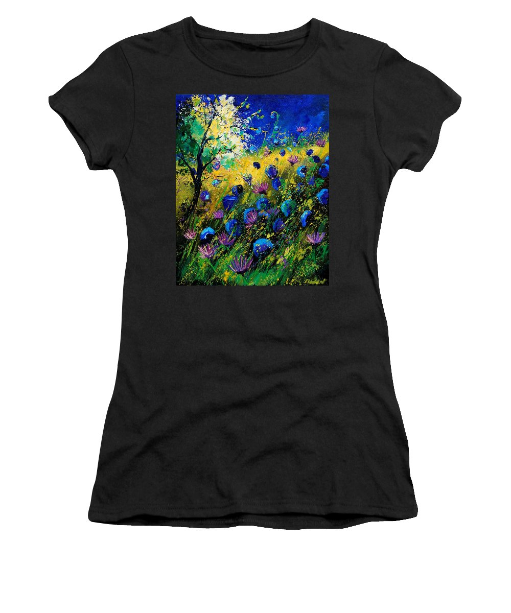 Poppies Women's T-Shirt (Athletic Fit) featuring the painting Summer 450208 by Pol Ledent