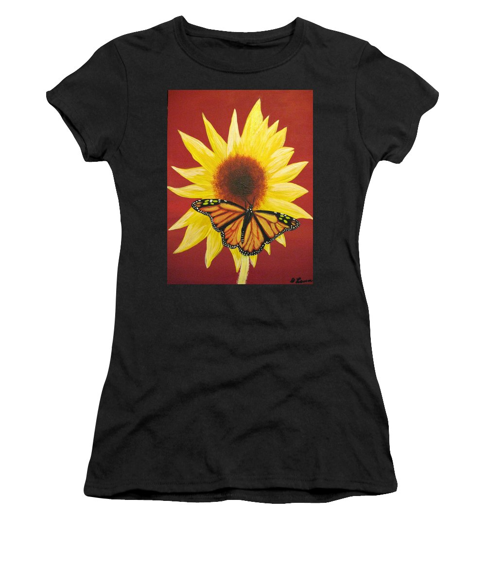 Sunflower Women's T-Shirt (Athletic Fit) featuring the painting Sunflower Monarch by Debbie Levene