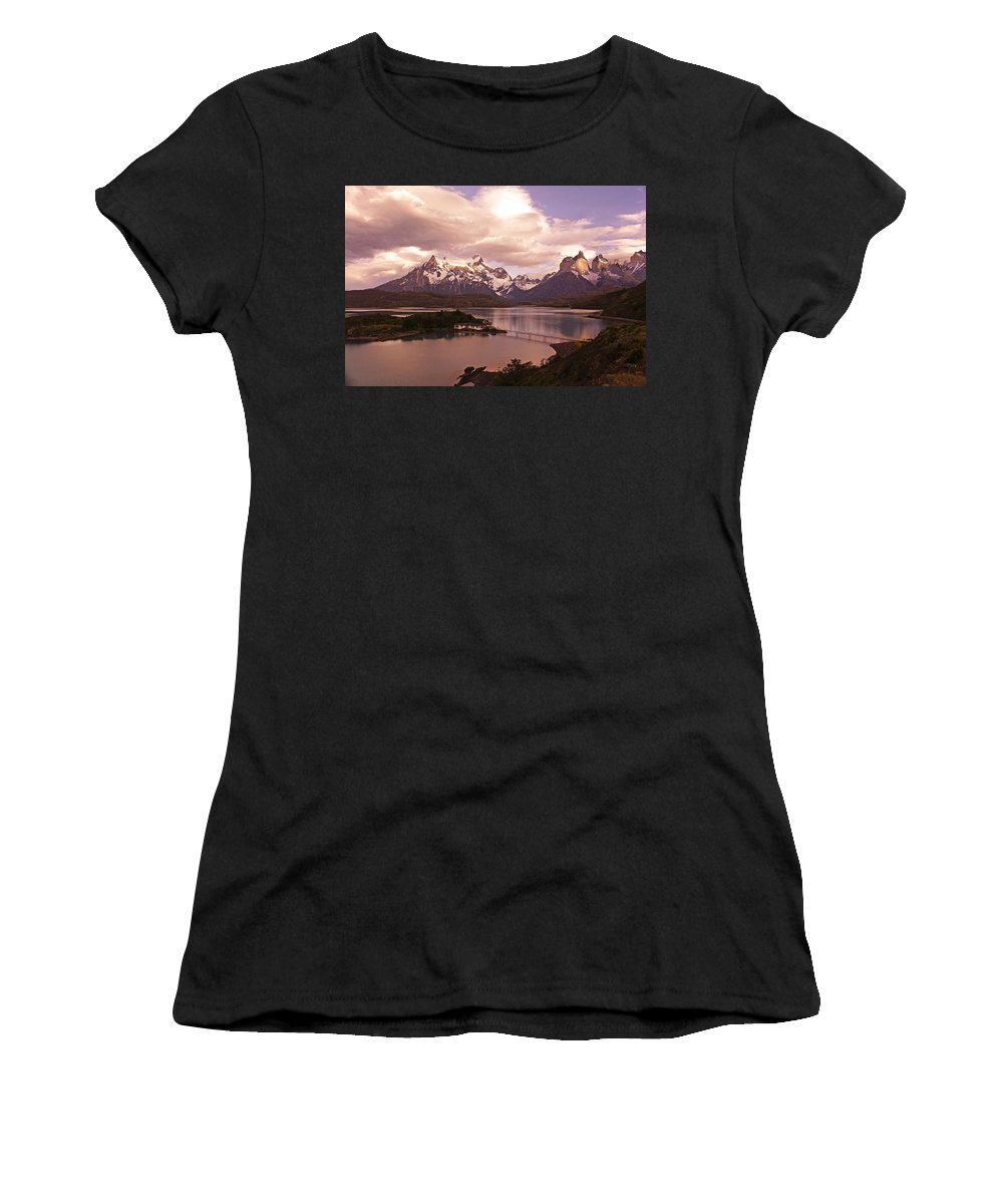 Chile Women's T-Shirt (Athletic Fit) featuring the photograph Sunrise In Torres Del Paine by Michele Burgess