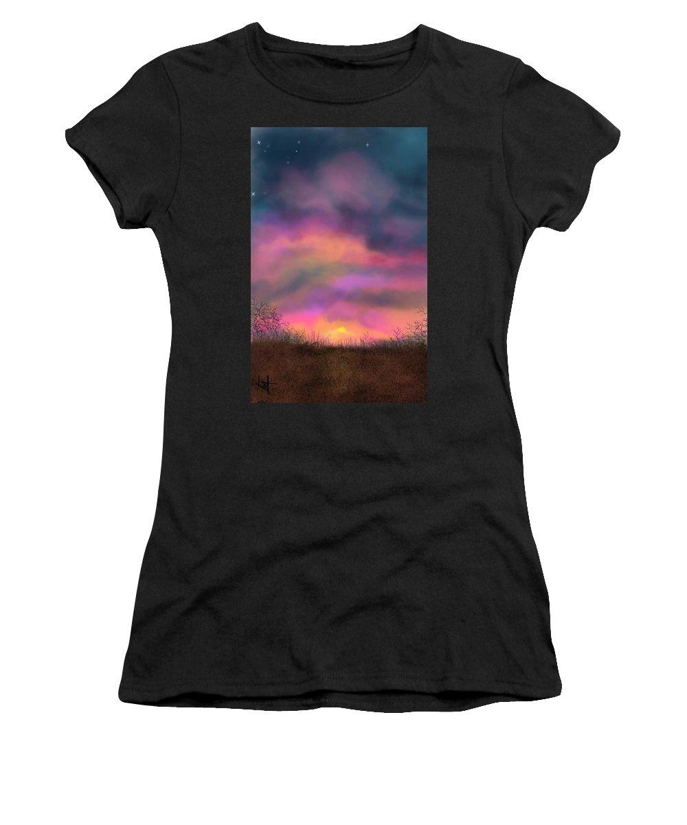 Sunsets Women's T-Shirt featuring the digital art Sunset by Kathleen Hromada