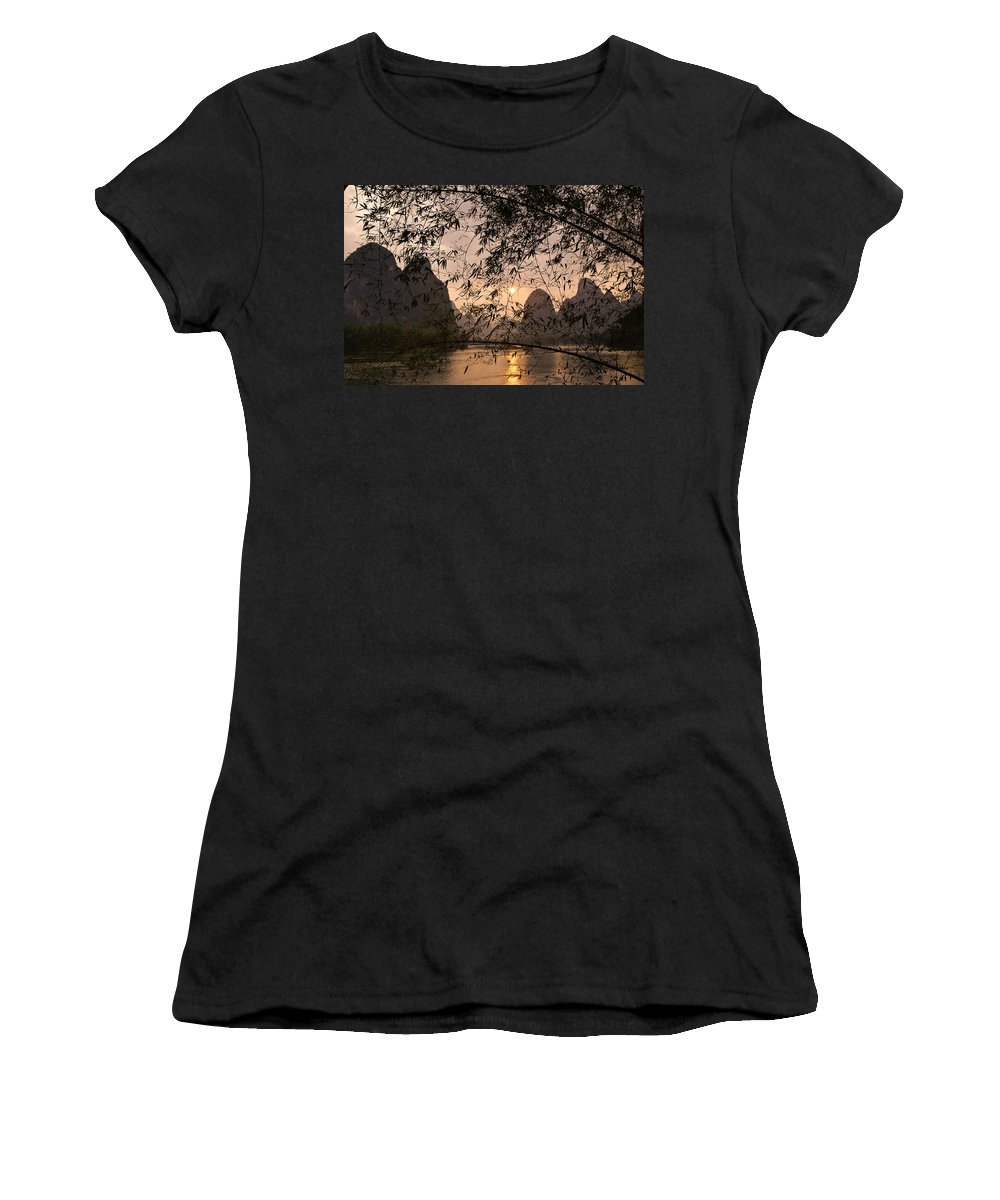 Asia Women's T-Shirt (Athletic Fit) featuring the photograph Sunset On The Li River by Michele Burgess