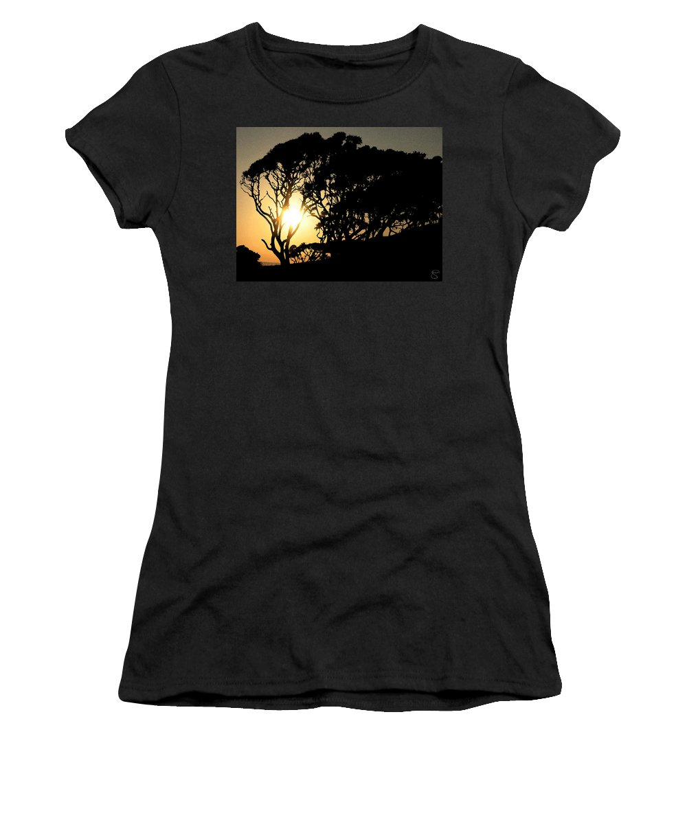 Tree Women's T-Shirt (Athletic Fit) featuring the digital art Sunset Silhouette by Stacey May