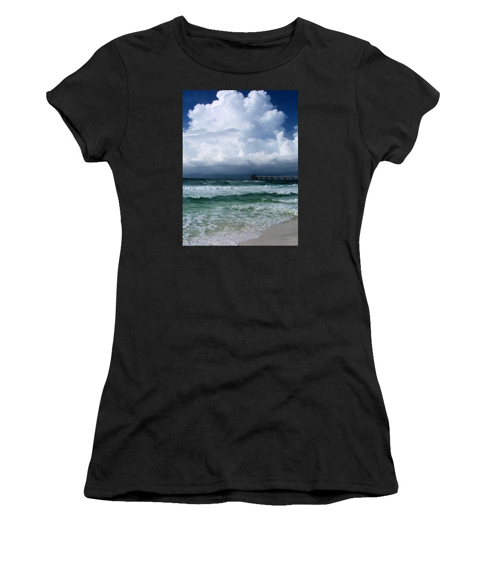 Art Background Beach Beaches Beautiful Beauty Blue Bright Color Crest Gulf Coast High Tide Horizon Horizontal Hurricane Landscape Seascape Ocean Red Flag Sand Scene Scenery Scenic Sea Seacoast Seascape Sea Oats Shore Shoreline Surf Surface Tempest Tide Thunderstorm Thunder Tourism Travel Tropical Vacation Wallpaper Water Wave Waves Wet White Wide Panama City Destin Fort Walton Beach Pensacola Women's T-Shirt (Athletic Fit) featuring the photograph Tempest by Kirby Anderson
