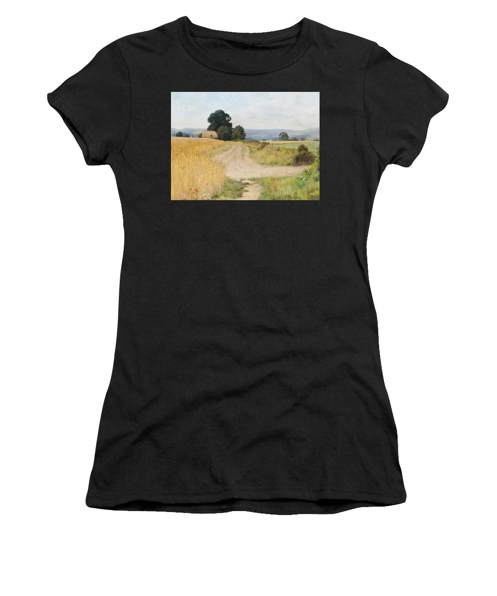 Paul Guigou The Cornfield Women's T-Shirt (Athletic Fit) featuring the painting The Cornfield by Paul Guigou