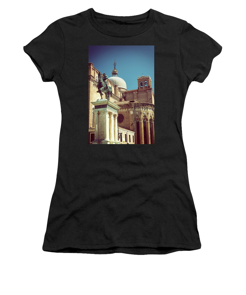 Venice Women's T-Shirt (Athletic Fit) featuring the photograph The Equestrian Statue Of Bartolomeo Colleoni In Venice by Jaroslav Frank