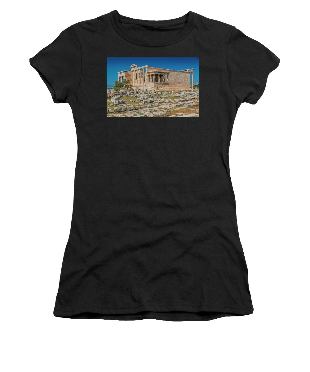 Archaeological Women's T-Shirt (Athletic Fit) featuring the photograph The Erechtheum On The Acropolis, Athens, Greece by Tom Zeman