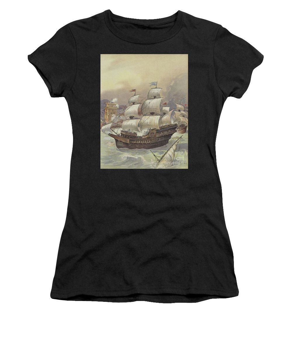 Sinking Women's T-Shirt featuring the painting The Fleet Of Jean Ango Blocks The Tagus by Albert Robida