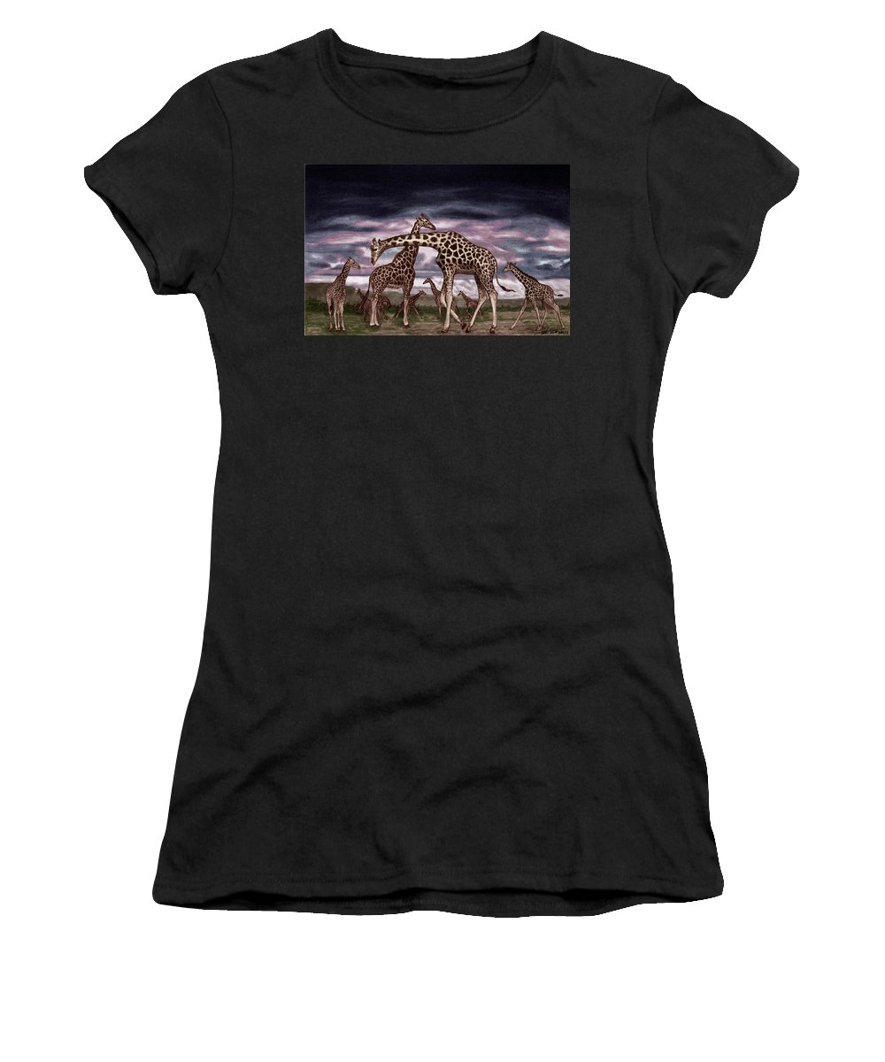 The Herd Women's T-Shirt (Athletic Fit) featuring the drawing The Herd by Peter Piatt