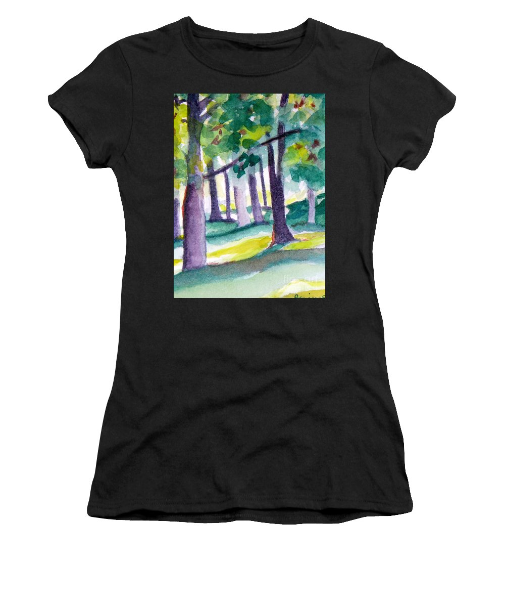 Nature Women's T-Shirt (Athletic Fit) featuring the painting The Perfect Day by Jan Bennicoff