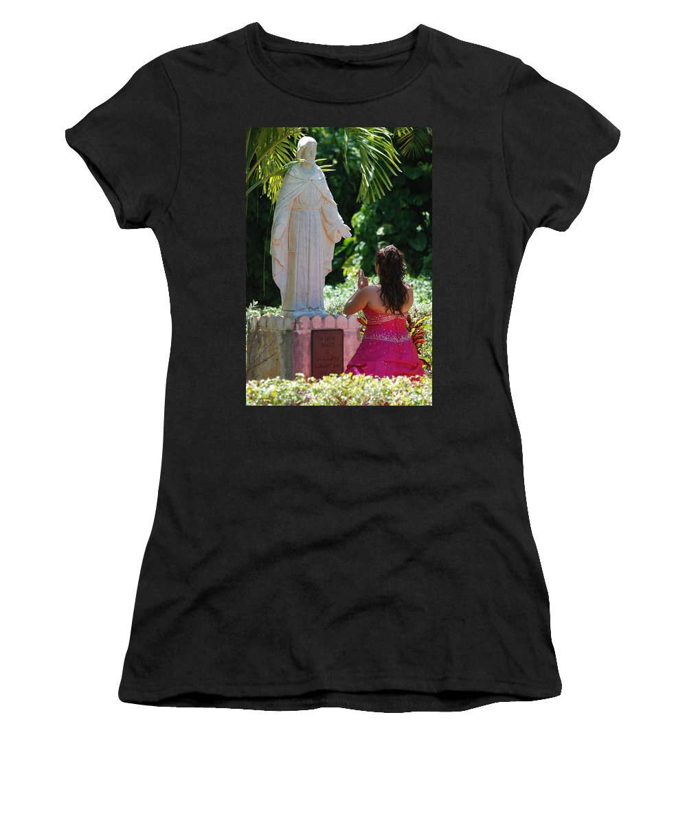 Portrait Women's T-Shirt (Athletic Fit) featuring the photograph The Praying Princess by Rob Hans