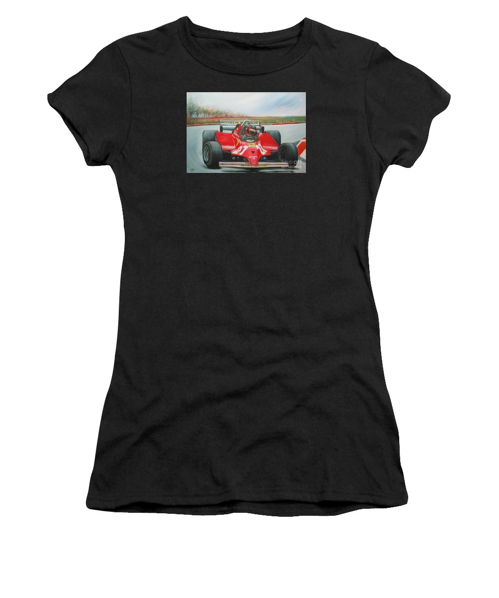 Race Women's T-Shirt featuring the painting The Racing Car by Sukalya Chearanantana
