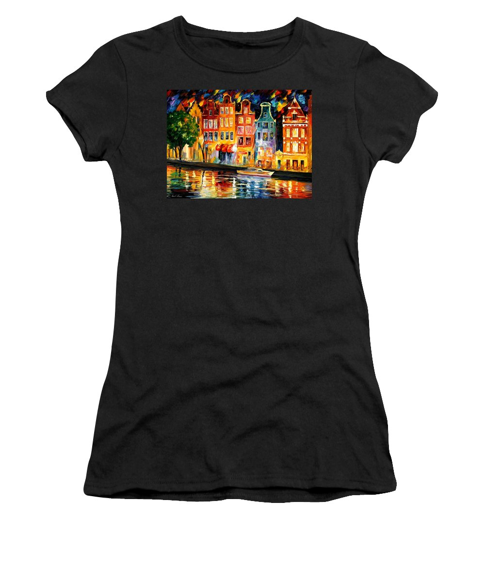 Afremov Women's T-Shirt featuring the painting The Sky Of Amsterdam by Leonid Afremov