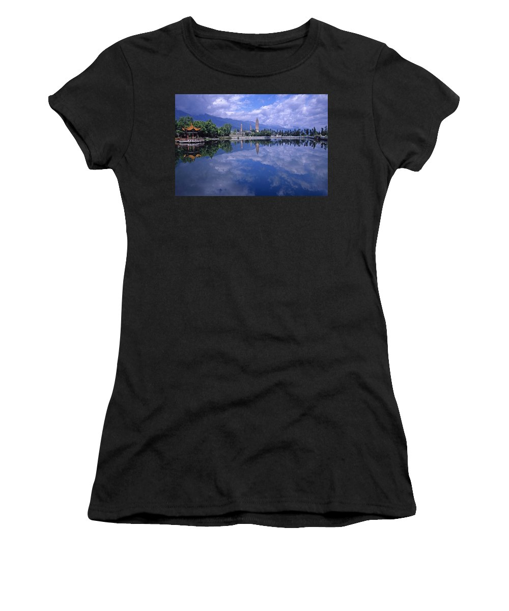 Pagoda Women's T-Shirt (Athletic Fit) featuring the photograph The Three Pagodas Of Dali by Michele Burgess