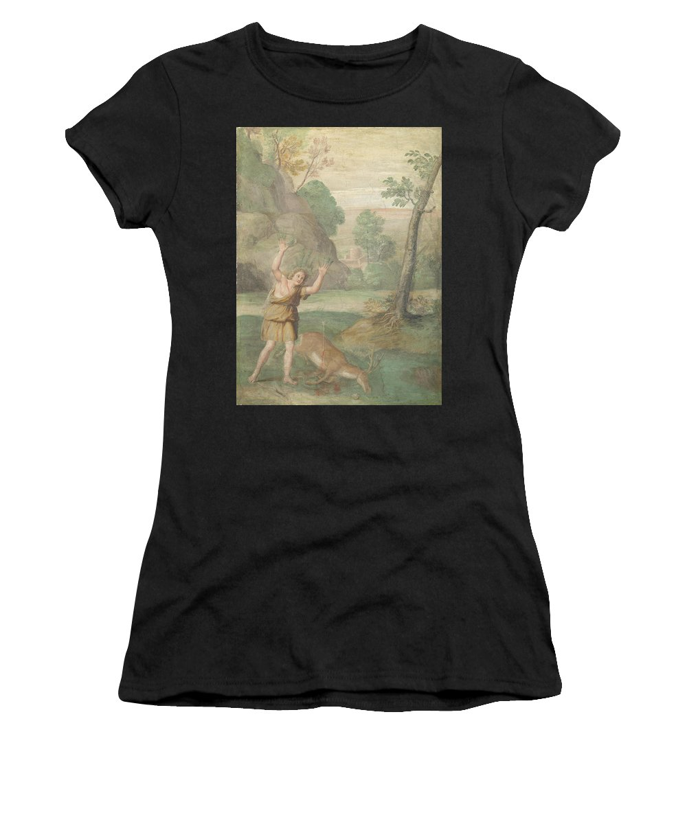 Domenichino Women's T-Shirt (Athletic Fit) featuring the digital art The Transformation Of Cyparissus by PixBreak Art