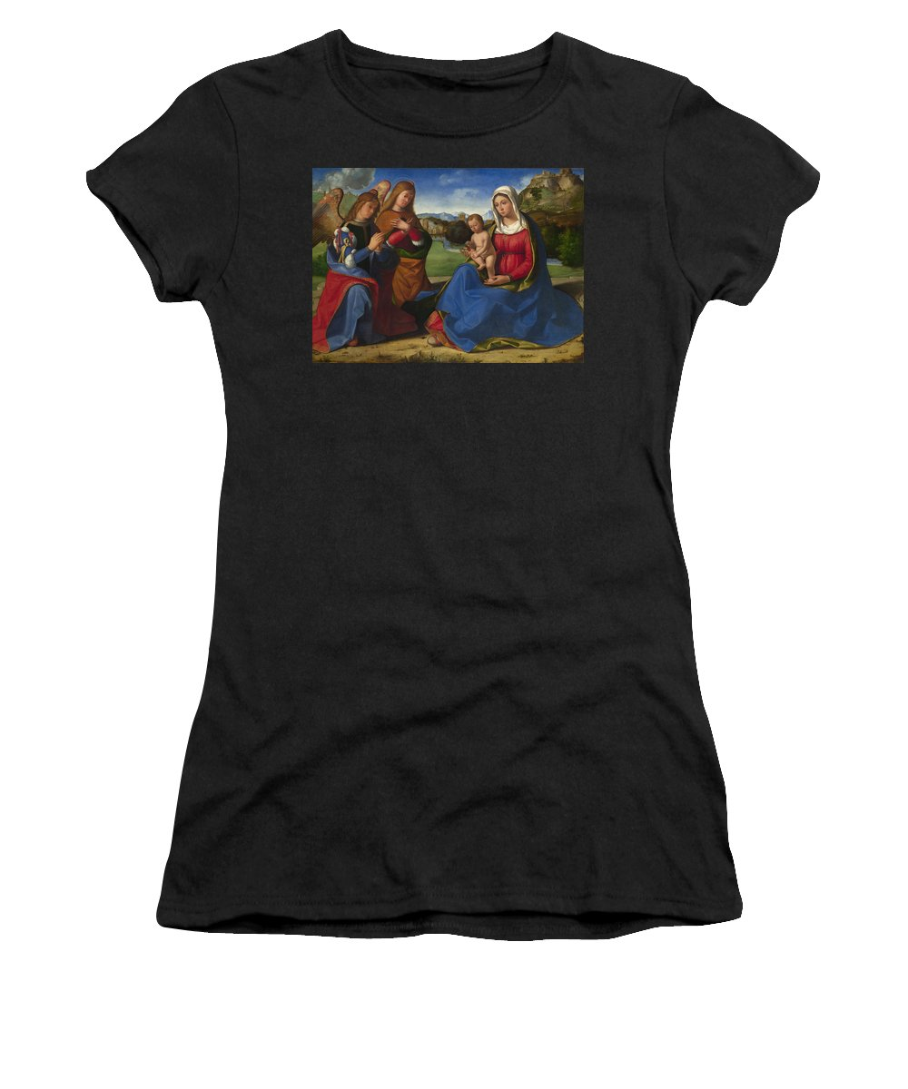 Andrea Women's T-Shirt (Athletic Fit) featuring the digital art The Virgin And Child Adored By Two Angels by PixBreak Art
