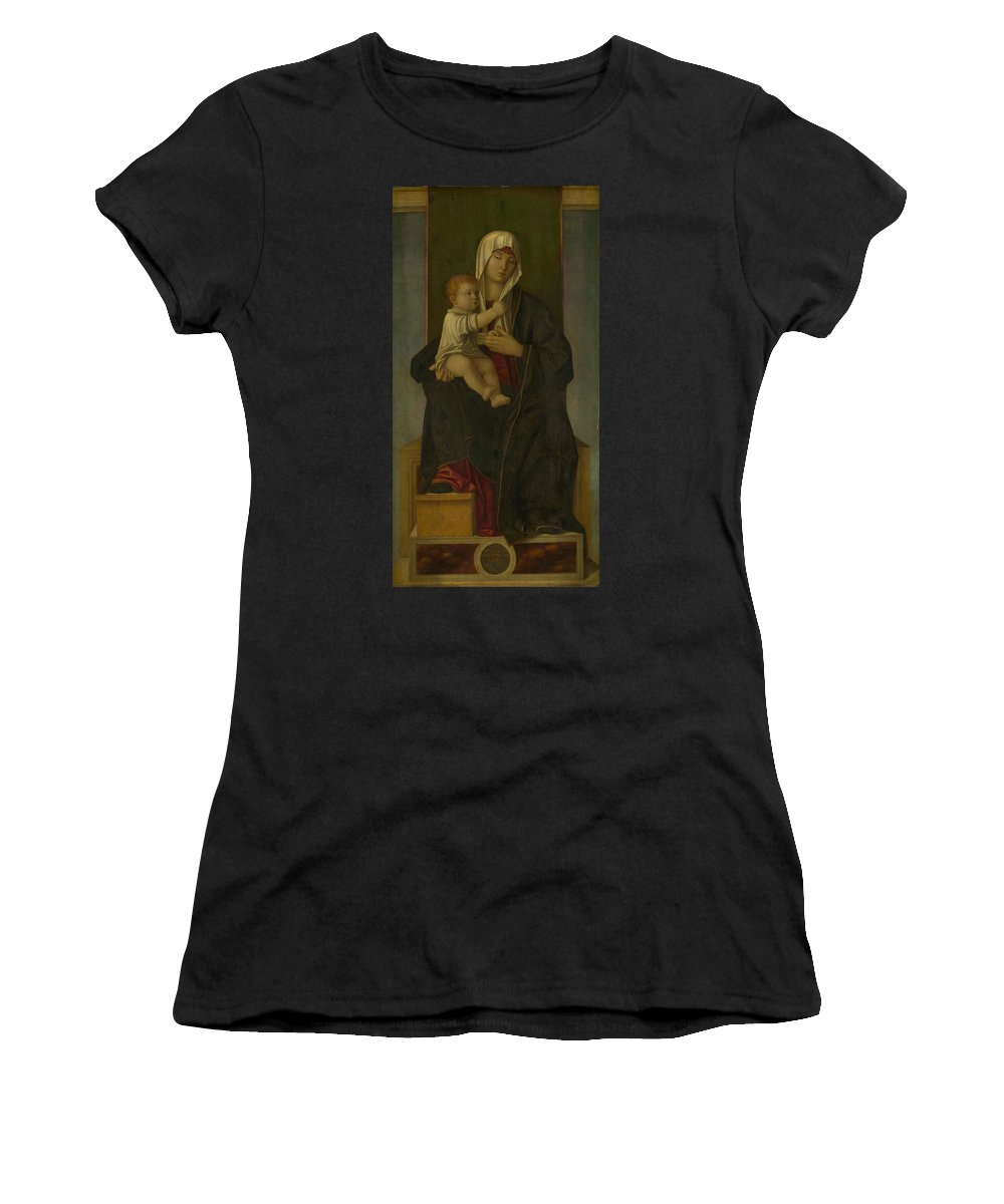 Francesco Women's T-Shirt (Athletic Fit) featuring the digital art The Virgin And Child by PixBreak Art