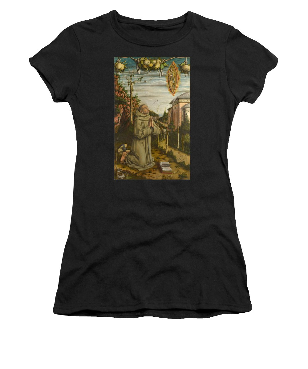 Carlo Women's T-Shirt (Athletic Fit) featuring the digital art The Vision Of The Blessed Gabriele by PixBreak Art