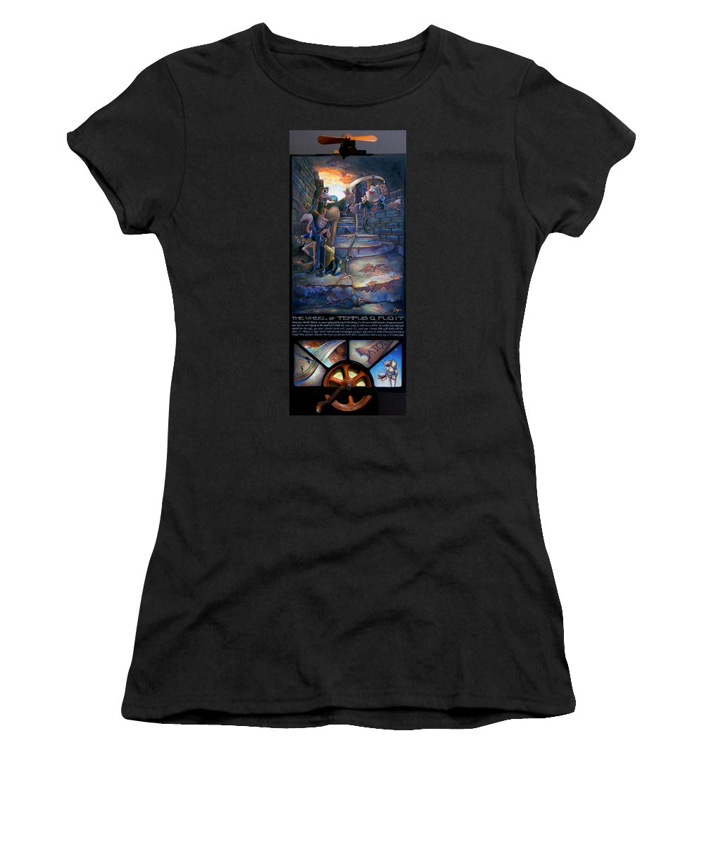Mermaid Women's T-Shirt featuring the painting The Wheel Of Tempus Q. Fugit by Patrick Anthony Pierson