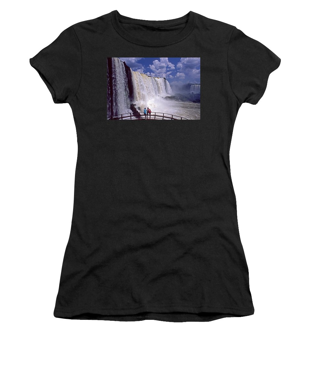 South America Women's T-Shirt (Athletic Fit) featuring the photograph Thundering Water by Michele Burgess