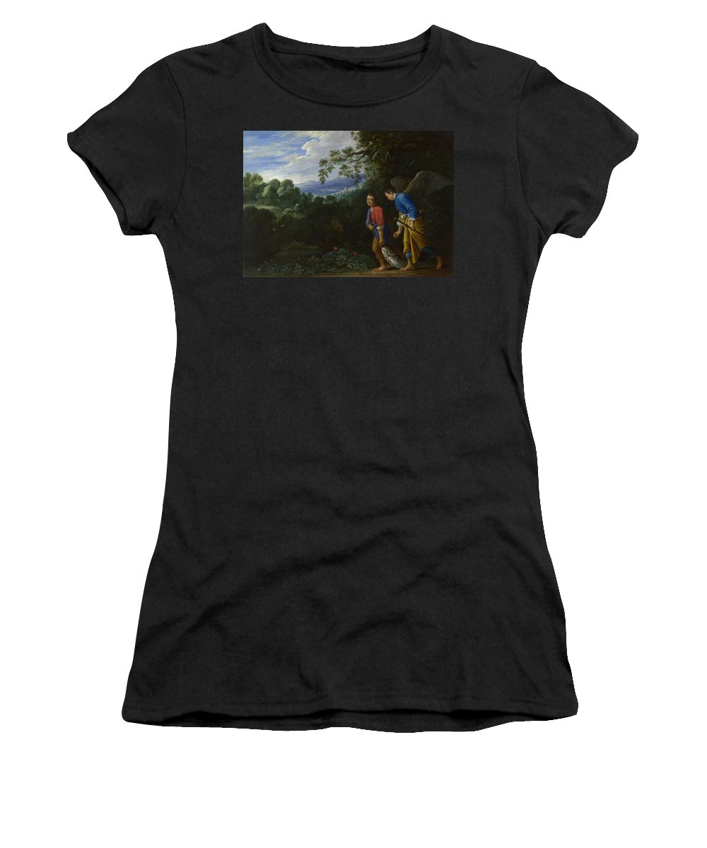 After Women's T-Shirt (Athletic Fit) featuring the digital art Tobias And The Archangel Raphael by PixBreak Art