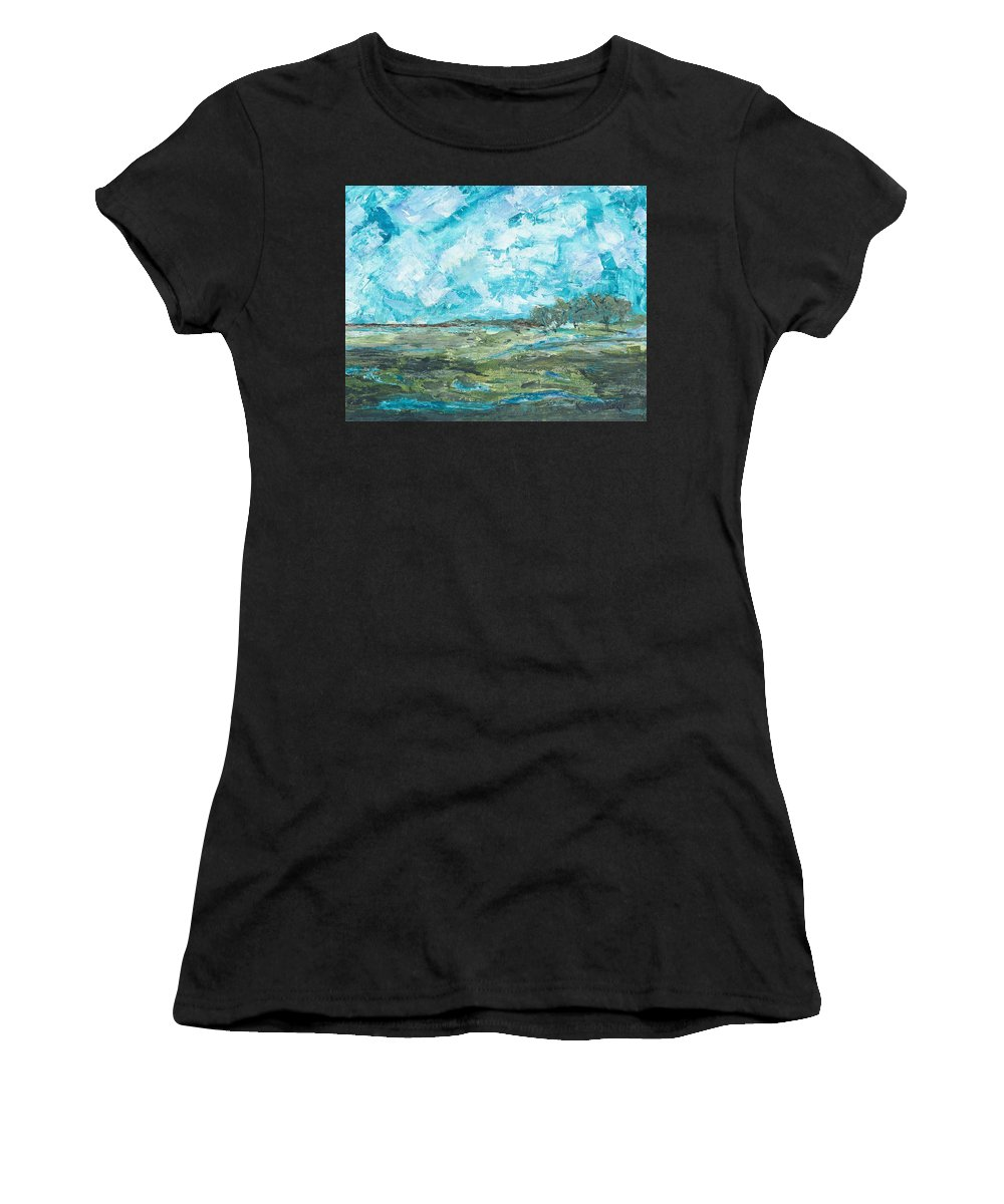 Landscape Women's T-Shirt featuring the painting Toward Pinckney Island by Kathryn Riley Parker