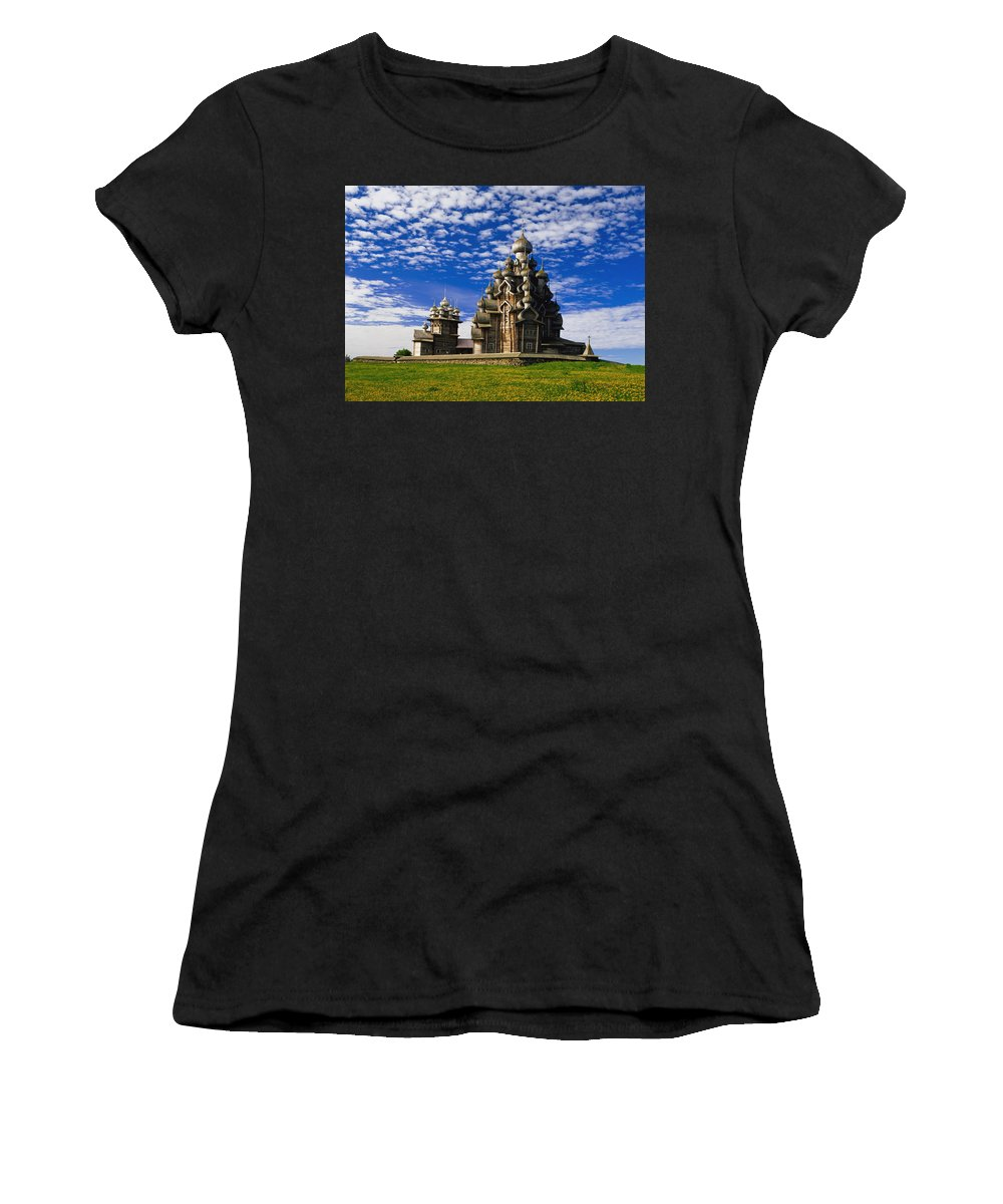 Horizontal Women's T-Shirt (Athletic Fit) featuring the photograph Transfiguration Cathedral On Kizhi by Axiom Photographic