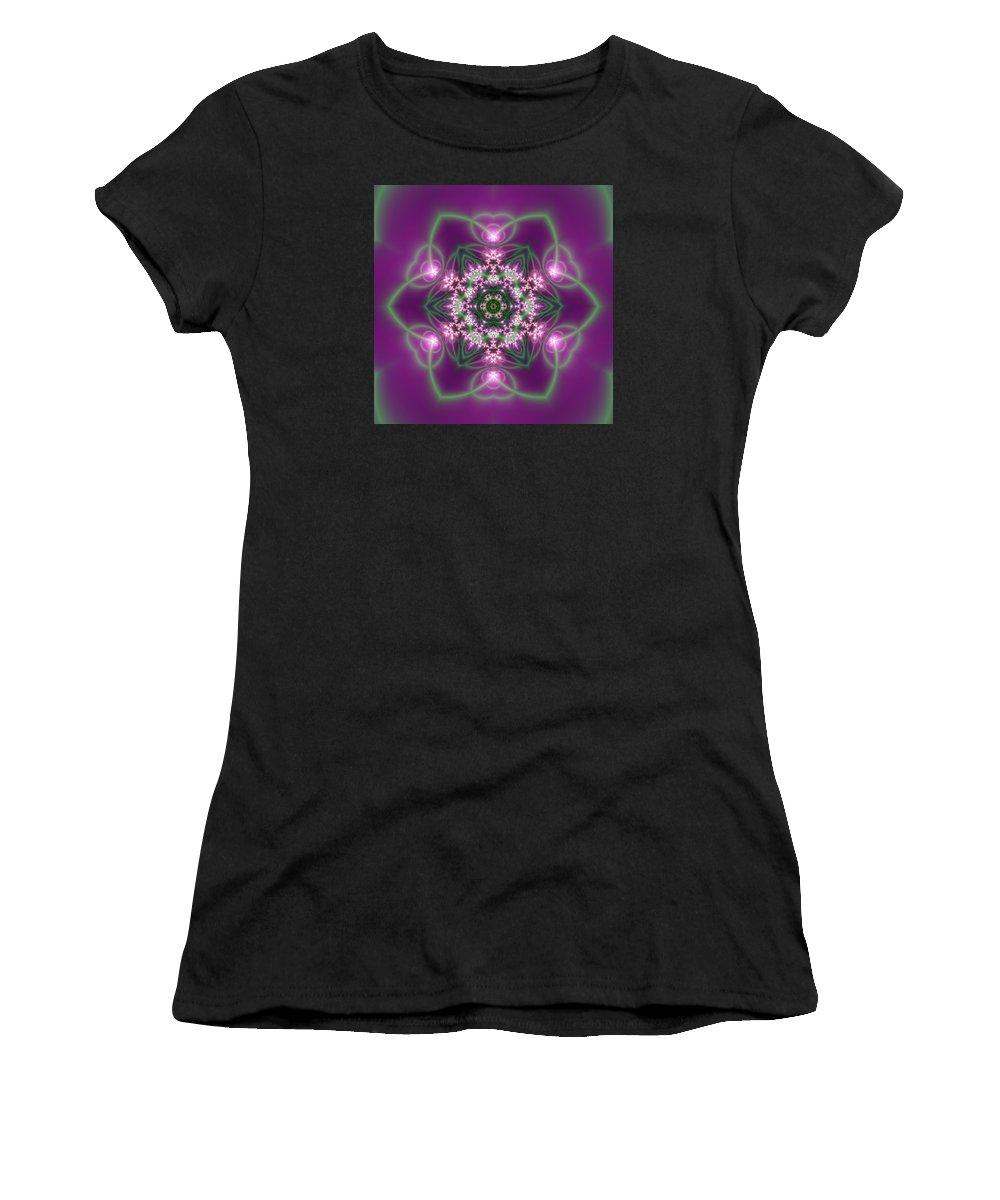 Mandala Women's T-Shirt featuring the digital art Transition Flower 6 Beats 3 by Robert Thalmeier
